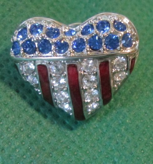 Patriotic USA FLAG heart with rhinestones pinback lapel PIN