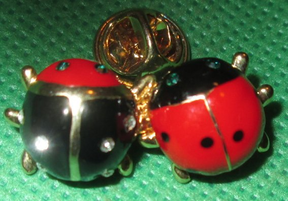 Two LADYBUG Beetles red black metal pinback lapel PIN 1""