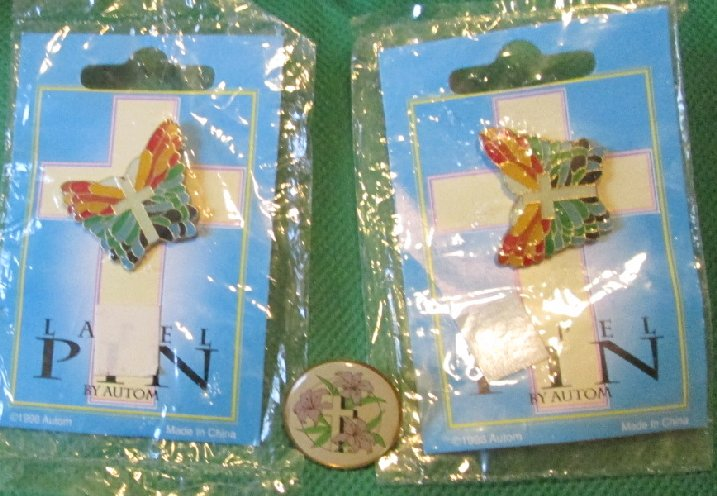 Lot of 2 Autom Religious BUTTERFLY cross pinback lapel pins plus