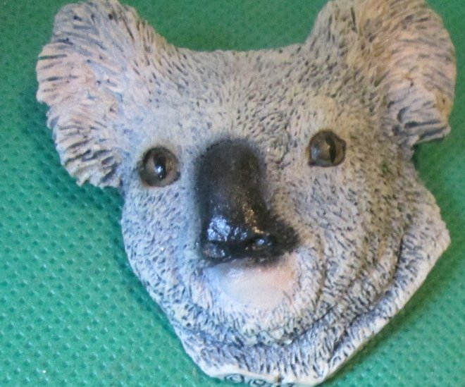 LIVING STONE animal head KOALA Bear pin brooch 2.25""