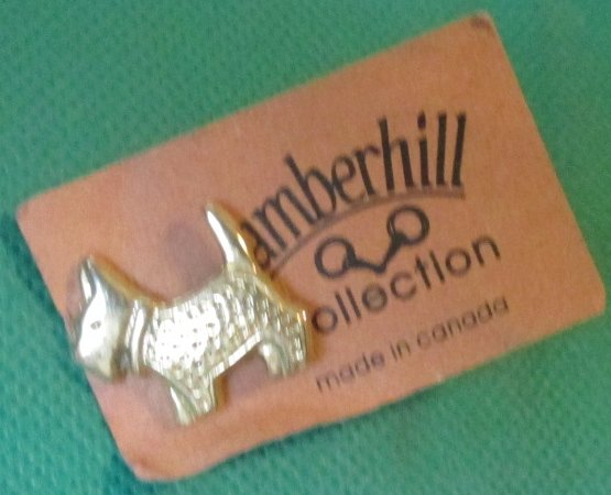 AMBERHILL COLLECTION Mini SCOTTIE dog goldtone pinback lapel pin