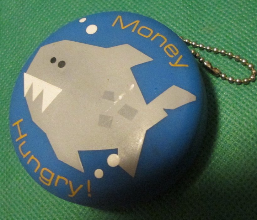 MONEY HUNGRY shark coin change purse keyring key chain 2.5""
