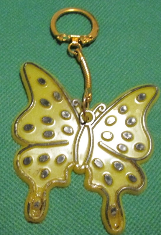 Vintage plastic yellow BUTTERFLY keyring key chain 3""