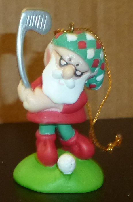 SANTA CLAUS golf golfer PVC figure ornament 2.75""