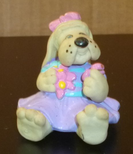 "Vintage POUND PUPPY girl DOG wearing dress sitting PVC figure 2"" - Click Image to Close"