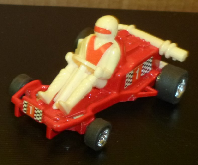 "Vintage #1 red RACE car with driver die-cast toy 3"", Hong Kong"