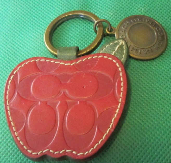 COACH leather embossed APPLE keyring key chain 2.5""