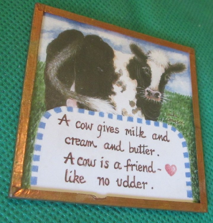 LINDA GRAYSON A Cow is A Friend square refrigerator frig MAGNET
