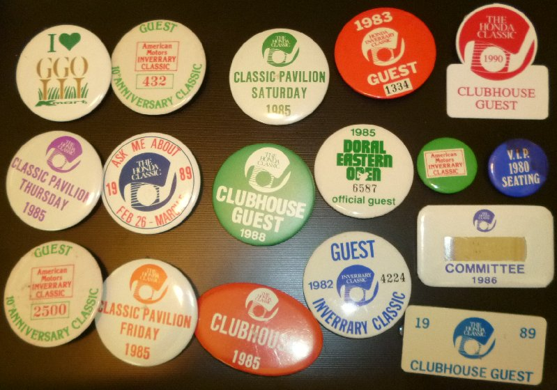 Lot of 17 vintage 1980s 1982-90 GOLF Button pins INVERRARY HONDA