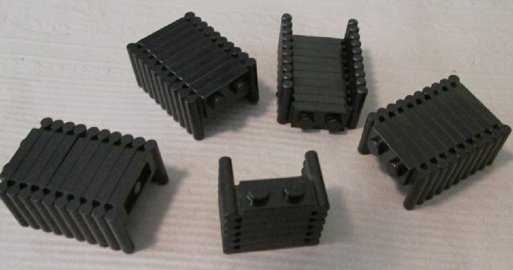 LEGO Parts Lot of 46 black Plates 1 x 2 with handles