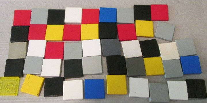LEGO Parts Lot of 48 Tile 2 x 2 mixed colors