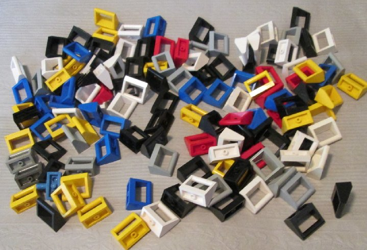 LEGO Parts Lot of 130 Tile 1 x 2 with handle mixed colors