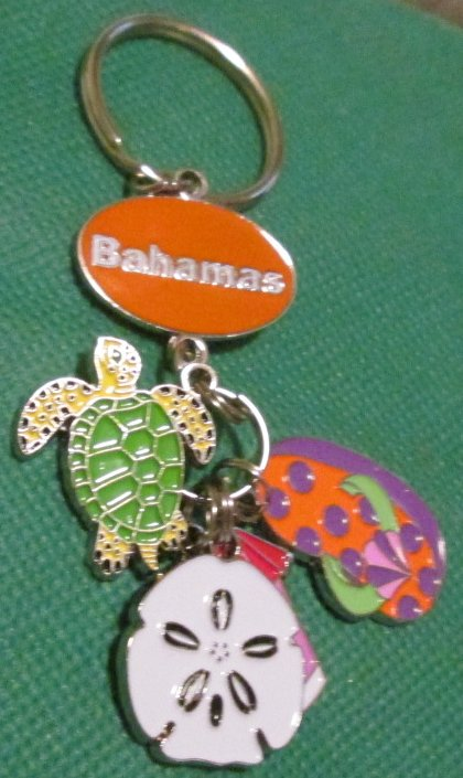 BAHAMAS with metal charms souvenir keyring key chain 3.25""