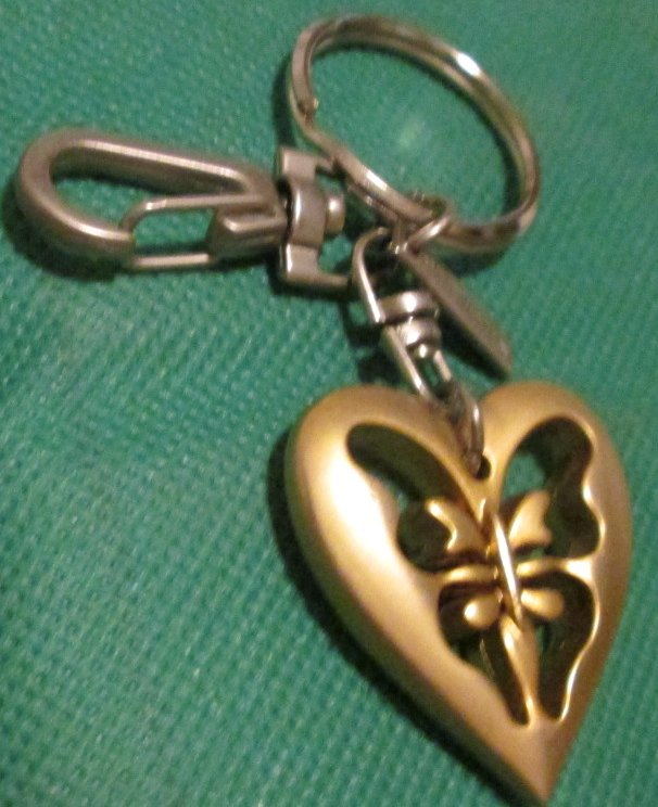 ST JOHN cutout butterfly inside heart keyring key chain clip-on