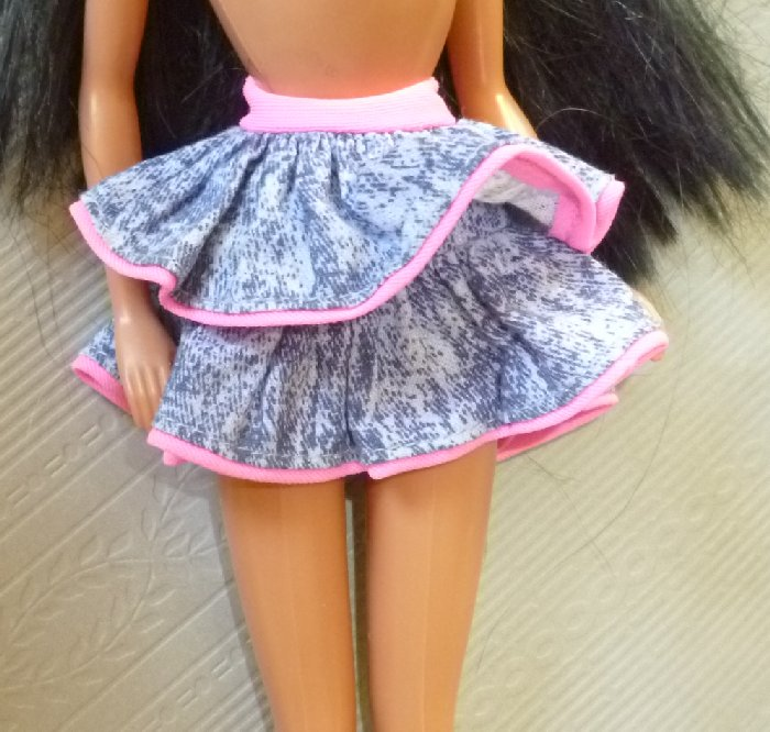 BARBIE Doll Clothing jean tiered pink trim SKIRT purple B tag