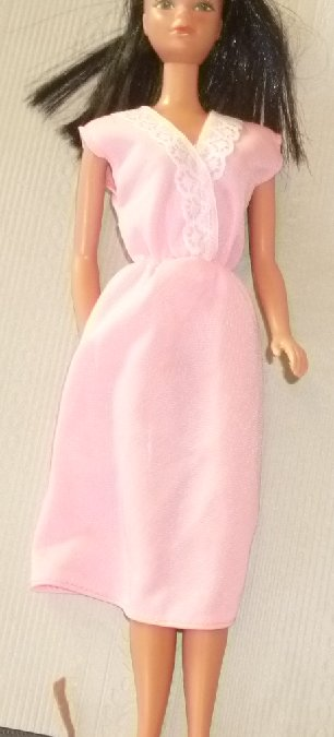 BARBIE Doll Clothing pink white lace trim Vintage dress, no tag