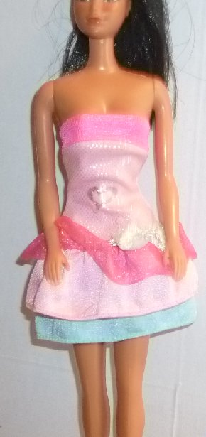 BARBIE Doll Clothing strapless pink with blue tiered skirt dress