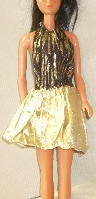 BARBIE Doll Clothing black gold metallic halter dress, no tag