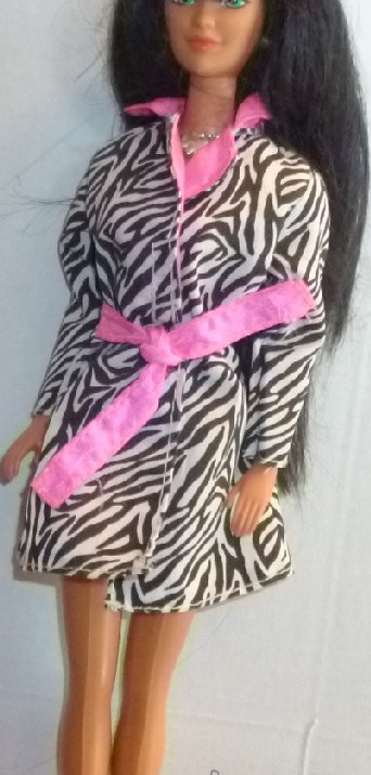 BARBIE Doll Clothing black white zebra JACKET coat pink trim