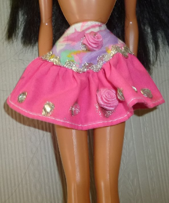 BARBIE Doll Clothing pink & print decorated SKIRT, no tag