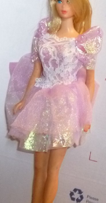 BARBIE Doll Clothing purple metallic w/lace puff sleeves dress