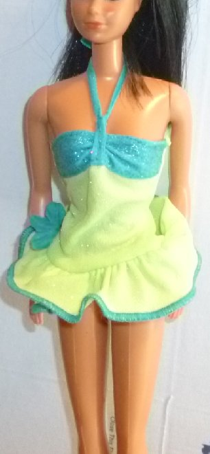 BARBIE Doll Clothing green blue halter mini dress, no tag