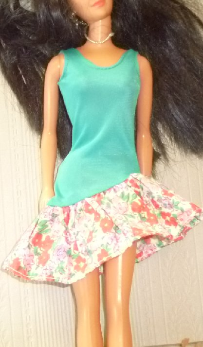 BARBIE Doll Clothing teal with floral print skirt Vintage dress