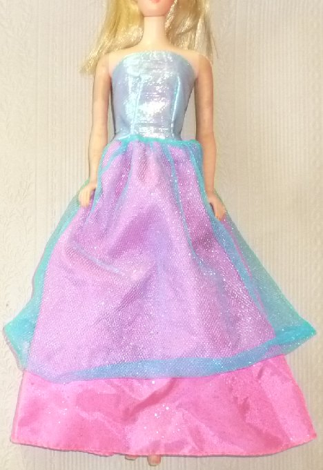 BARBIE Doll Clothing pink blue strapless Gown dress, pink B tag