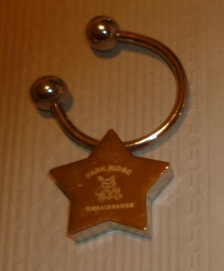 PARK RIDGE RENAISSANCE metal star shape keyring key chain 1.25""