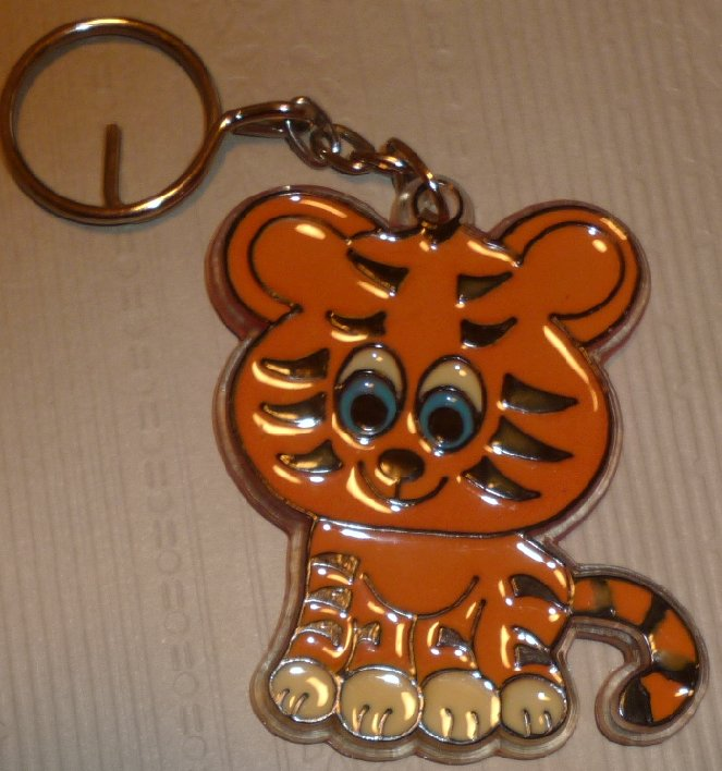 Cute Baby Tiger flat plastic keyring key chain 2.75""