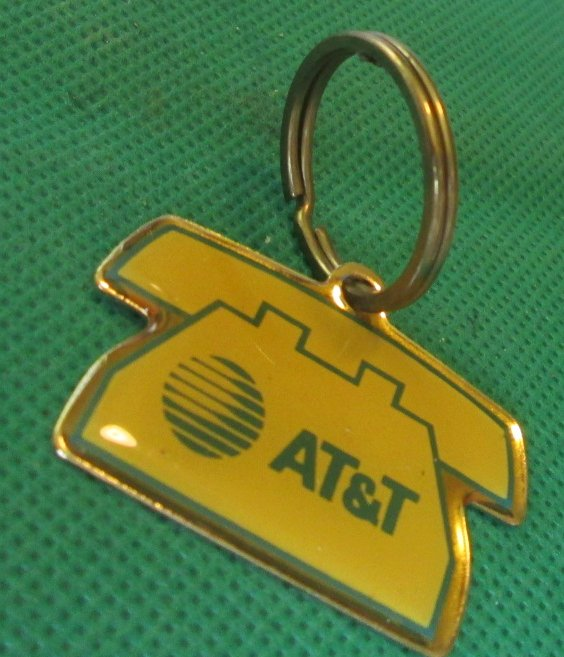 AT&T telephone metal keyring key chain 1.25""