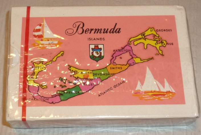 1 Deck BERMUDA ISLANDS Map vintage souvenir playing cards MIB