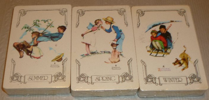 3 Decks NORMAN ROCKWELL playing cards SUMMER SPRING & WINTER