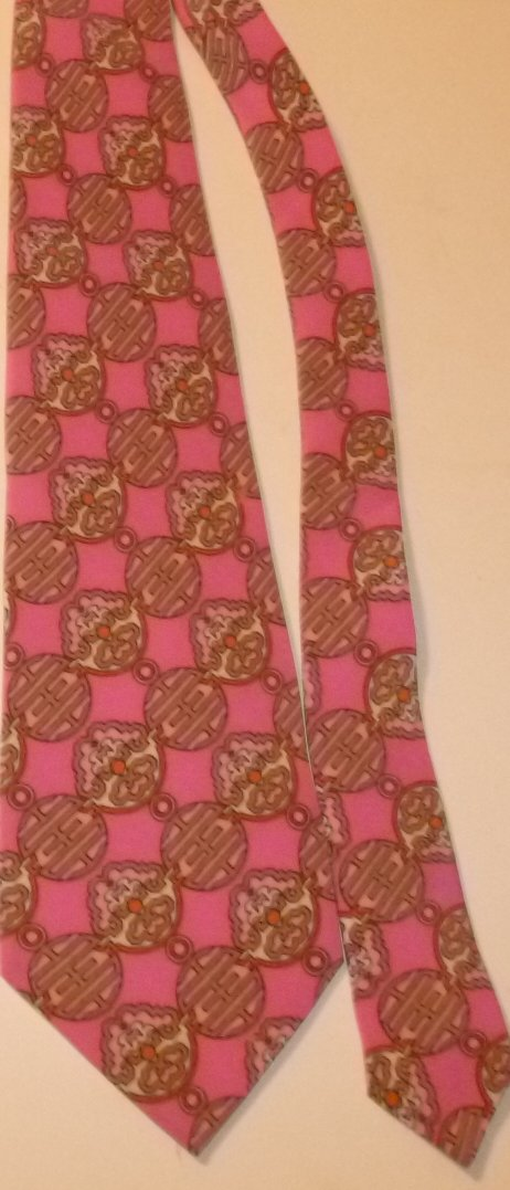 Vintage JACQUES LEONARD colorful pink MOD Psychedelic Silk TIE