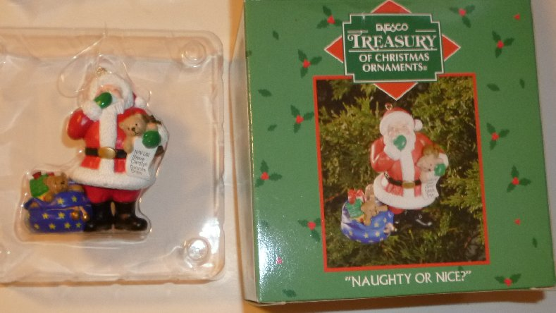 2002 NAUGHTY OR NICE Santa Claus Ornament Enesco in Box