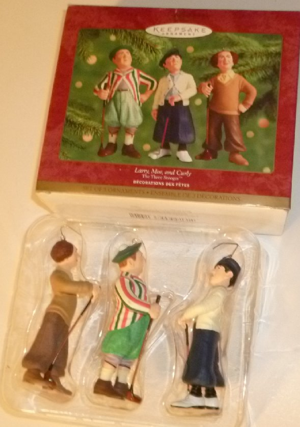 2000 Hallmark Ornament THE THREE STOOGES Larry Moe Curly golfer