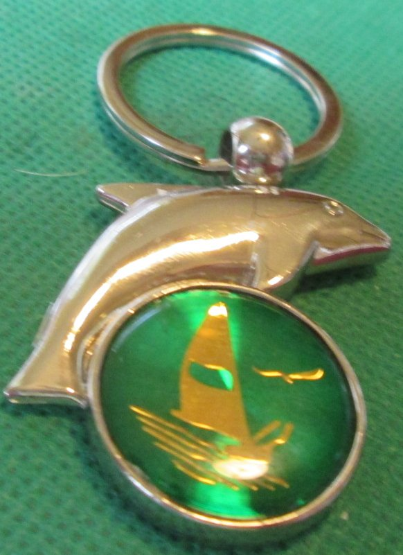 Silvertone DOLPHIN over SAILBOAT metal keyring key chain 2""