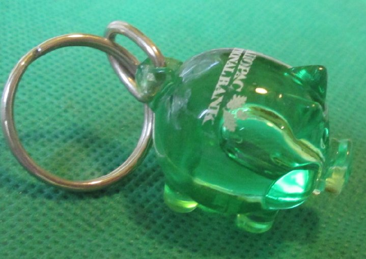 MAHOPAC NATIONAL BANK green Piggy BANK plastic figure keyring