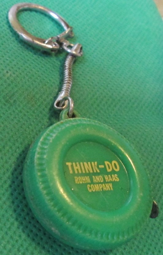 Vintage THINK-DO Rohm & Haas Co tape measure keyring key chain