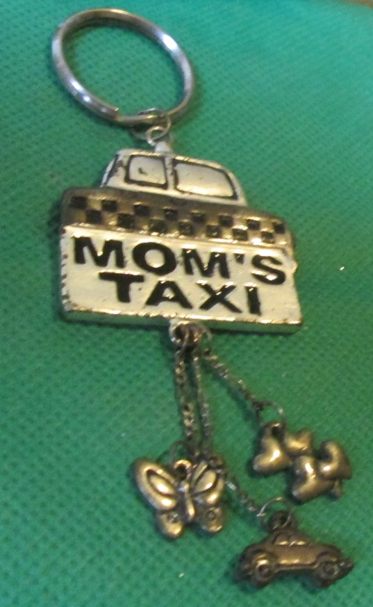 MOM'S TAXI metal keyring key chain with dangling charms 3.5""