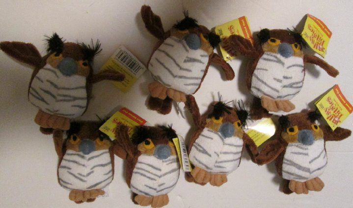 WILD REPUBLIC Plush lot of 7 ITSY BITSIES w/tags GREAT HORN OWL