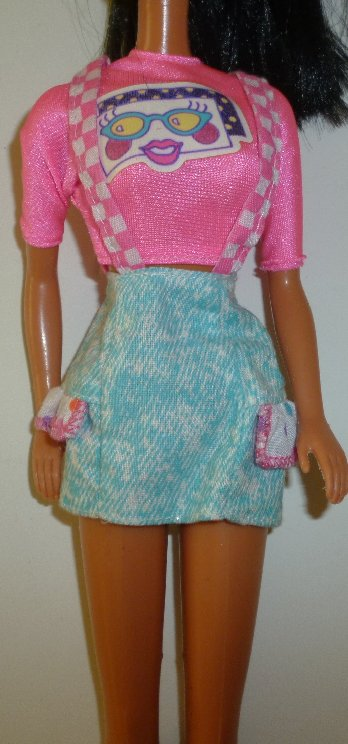 BARBIE Doll Fashion Clothing pink top w/face & skirt, purple tag