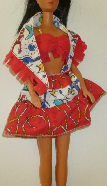 "BARBIE Doll Clothing Western top, shawl, & skirt, purple ""B"" tag"