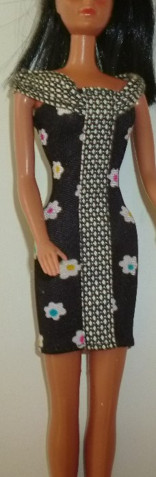 BARBIE Doll Clothing black bandage dress with flowers, no tag