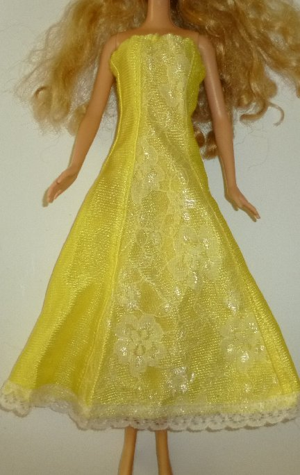 BARBIE Doll Clothing yellow strapless gown dress, no tag