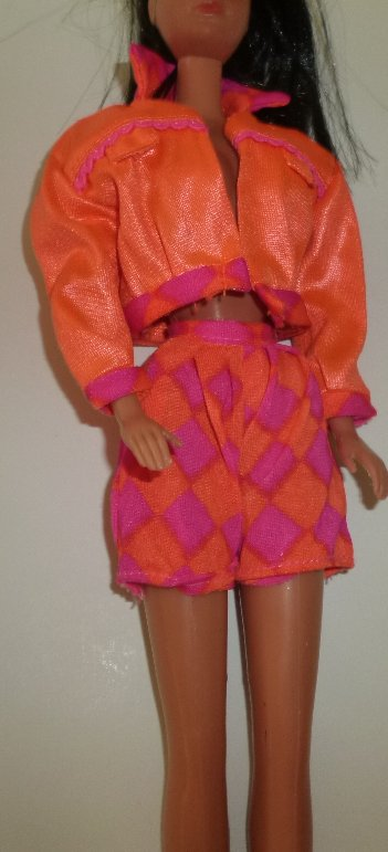 BARBIE Doll Clothing Orange Jacket & print shorts