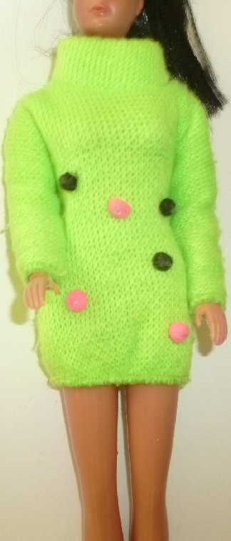 BARBIE Doll Clothing neon green with pom-poms Sweater