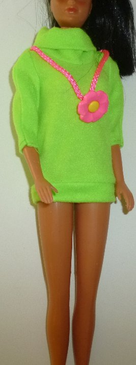 BARBIE Doll Clothing neon green shirt with pink flower necklace