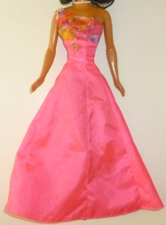 "BARBIE Doll Clothing pink gown dress with B charm, pink ""B"" tag"