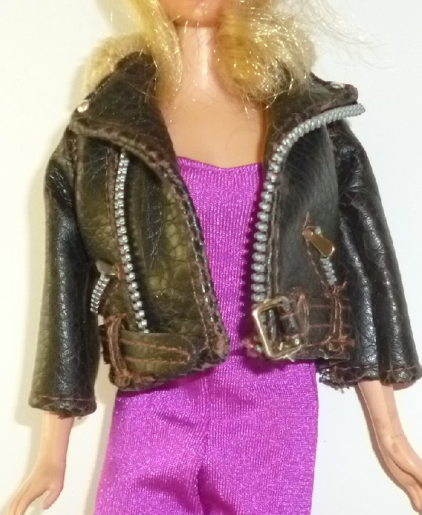 BARBIE Doll Clothing vintage MOTORCYCLE JACKET, no tag